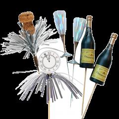 Champagne flessen, champagneglazen kur en klok Tinsel, 6 stuks