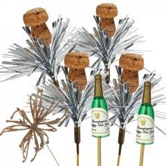 Kurken met Tinsel, mini champagneflesjes en gouden vuurwerk, 7 stuks