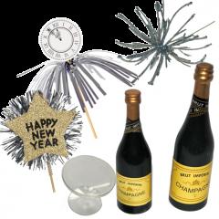 Verschillende maten champagne flesjes met extra decoratie, 6 stuks