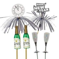 Champagne glaasjes en flesjes en deco met Tinsels, 6 stuks