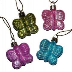 Vlinder van glas, verschillende kleuren, 5cm, per stuk