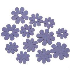 Setje vilten lila bloemen, 4,5cm