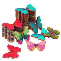 Weer op voorraad! Setje houten vlinders, 12 stuks, 3cm