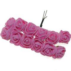 Foam roosjes roze 2cm, 12 stuks