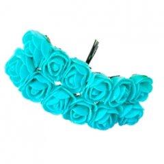 Foam roosjes Tiffany blue 2cm, 12 stuks