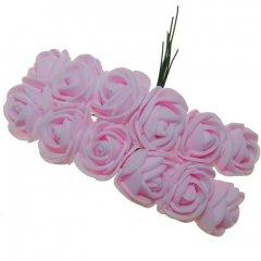 Foam roosjes lichtroze 2cm, 12 stuks