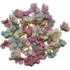 Kleine pastelkleurige bloemetjes, 2cm, 5 gram