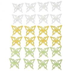 Houten vlindermix wit-geel-groen, Setje van 24 stuks