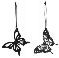 Setje zwart metalen vlinders