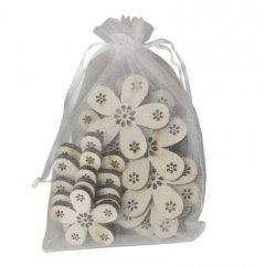 PRE-ORDER** week 5 leverbaar; Setje houten bloemetjes, 12 stuks