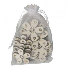 Setje houten bloemetjes, 12 stuks