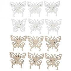 Set van 12 houten vlinders, 4cm