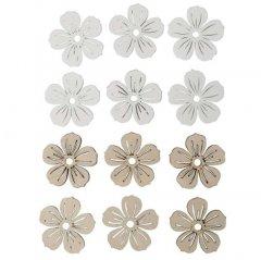 Set van 12 houten bloemetjes, 4cm