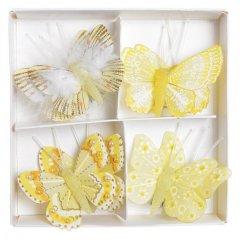 Setje gele vlinders, 8 stuks, 4,5cm