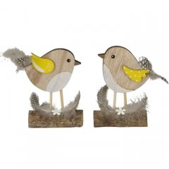 Setje houten vogeltjes op stam, 11cm