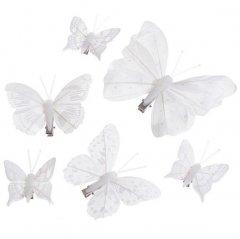 Set witte vlinders op clip, 6 stuks