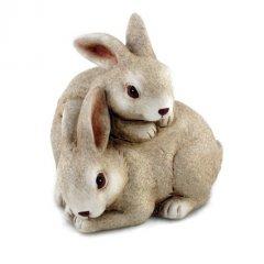 Keramiek konijn, haasjes, duo beige,  13.5cm