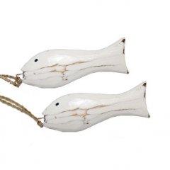 Wit houten visjes, 2 stuks, 8,5cm