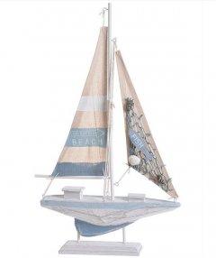 Grote Zeilboot wit met grijs staand, 42,5cm