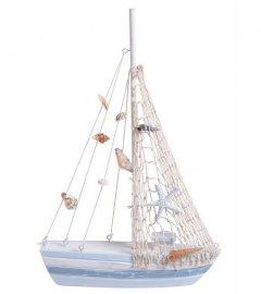 Decoratief schip, zeilboot met net en schelpen, 35cm