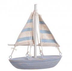 Zeilboot met houten romp en linnen zeilen, 15cm