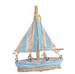 Zeilbootje Vintage met lichtblauw, 12.cm