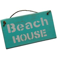 Rustiek geschuurd bordje; Beach house bordje, 25cm