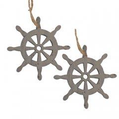 Twee Houten hangers scheepsroer 7cm