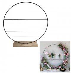 Staande ring op houten voet  met spijlen, Large, 55 x 57cm