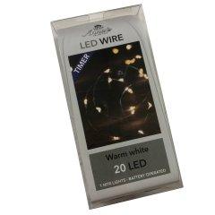 LED lichtsnoer met TIMER en 20 lampjes, 100cm