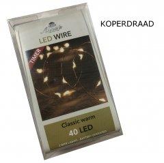 LED lichtsnoer KOPER met TIMER 40 lampjes, 200cm