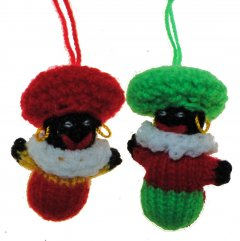 Gebreide balpop zwarte Piet, rood/groen, 6cm