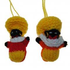 Gebreide balpop zwarte Piet, geel/rood/oranje, 6cm