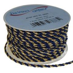 Pietenkoord, kordel koord, blauw en goud, 4mm