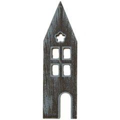 Groot huisje van hout met white-wash effect, 22cm