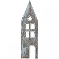 Groot huisje van hout met white-wash effect, 23cm