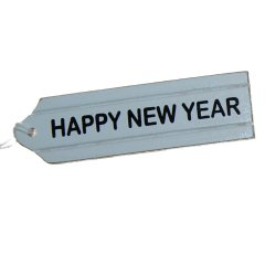 Houten label; Happy New Year, 9cm