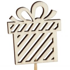 Houten kadootje met strik, 8cm