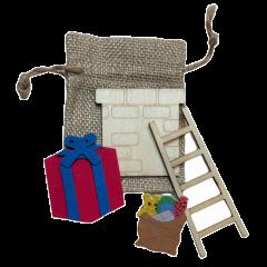 Gemengd setje met jute zakje, kadootje , ladder en schoorsteen