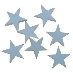 Laatste; Setje houten van 7 witte sterretjes, 2,5cm
