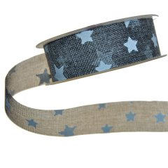 Grijs lint met witte sterren, 4cm