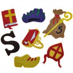 NIEUW 2020; Setje van 7 vilten figuurtjes, Sinterklaas is jarig!