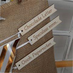 Set van 3 houten labels, 12cm
