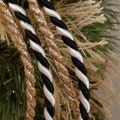 Zwart-wit zijdeband, kordel koord, 6mm, prijs per meter