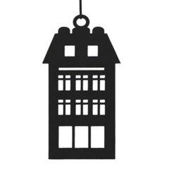 Zwart metalen huisje, dubbel dakraam,19cm