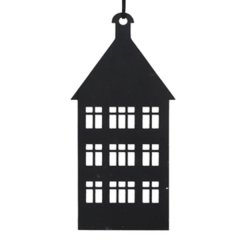 Zwart metalen huisje puntdak, 19cm