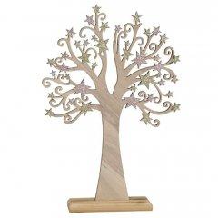 Houten boom met rosé gouden sterren, 34,5cm (komt eind september binnen)