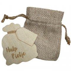 Jute zakje en houten zak hulp Pietje