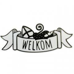 Witte wimpel 'Welkom', 12cm