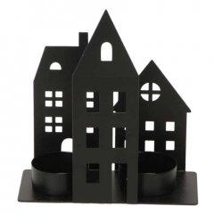 Theelicht huisjes rechthoekig, 15cm